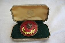 A RARE VINTAGE BOY SCOUTS COUNTRYSIDE FOX WOODS ENAMEL BADGE IN BOY SCOUT BOX