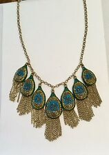 LUCKY BRAND Peacock Pave Gold Tone Fringe Crystal Statement Necklace NWT $75