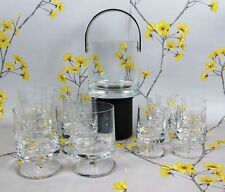 Elegant set 11 footed whisky & vodka crystal glasses ~ tumblers with ice bucket.