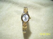 Vintage SARAH COVENTRY Silver Tone  Gold Inlay Ladies Wrist Watch   # TM-12