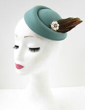 Sage Green Brown Feather Pillbox Hat Fascinator Hair Clip Vintage 30s 1940s B68