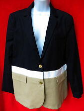 $160 MICHAEL KORS Womens Navy Blue Dark Midnight Colorblock Blazer Jacket 16 XXL