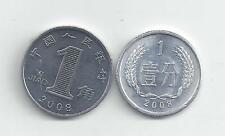 2 COINS from the PEOPLE's REPUBLIC of CHINA - 1 FEN & 1 JIAO (BOTH 2008)