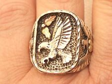 Estate Sterling Silver & 12K Gold Men's Harley Davidson Eagle Ring
