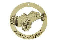 1936 Audi Auto Union Type C Maple Hardwood Ornament Sanded Laser Engraved