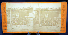 Antique Stereoview Card C.W. Woodward Loom Weaving Blankets Aztec Women Arizona