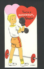 "Vintage UnUsed Valentine Card Weight Lifter/Boxer ""Your're A Knockout"""