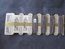 R383 Mercerie ancienne carte fil 4 bobines LAINE SAINT PIERRE brun Lyon Paris