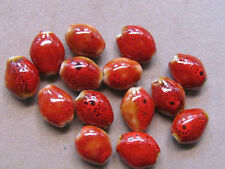 12 Red Oval 15x13mm Porcelain Beads (G92G2)