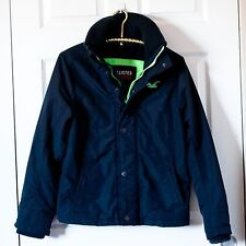Men's HOLLISTER Winter Jacket Coat Navy Blue Lime Green Fleece Lined Size Small