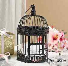 BLACK distressed vintage style Bird cage Candle holder Lantern party centerpiece