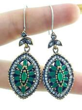 TURKISH HANDMADE JEWELRY 925 Sterling Silver Antique Emerald Earrings A51