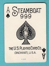 Single Swap Playing Card ACE OF SPADES #55A STEAMBOAT 999 USPCC ANTIQUE OLD WIDE