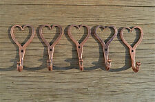 5 small solid copper Shaker heart hooks American folk art wall door hook hanger