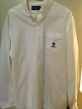 NEW RALPH LAUREN BUTTON DOWN SHIRT TENNIS PATCH WHITE COTTON LONG SLEEVE XL