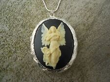 (LOCKET)-STUNNING GUARDIAN ANGEL (CREAM/BLACK) CAMEO!! QUALITY!! CHRISTMAS GIFT