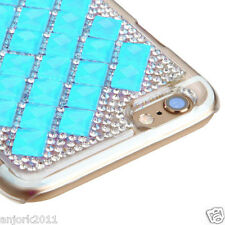 "iPhone 6 (4.7"") Snap Fit Back Cover 3D Bling Gem Case Blue Diamond"