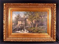 Oil on Canvas Painting Signed Dated 1892 Forest Mill Waterfall Scene (K)