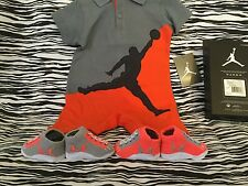 NIKE AIR JORDAN BABY BOOTIES BODYSUIT SIZE 3-6M CRIB SHOES 0-6M BOYS ORANGE GRAY