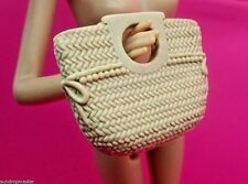 2015 BARBIE FASHION PURSE BEACH POOL TOTE BAG TAN STRAW WICKER LOOK