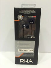 RHA MA450i Noise Isolating In-Ear Headphone with Remote and Microphone   Black
