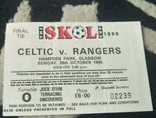 1990 skol cup final match ticket.