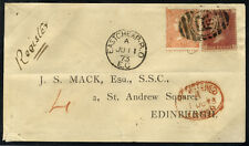 1873 registered envelope Eastcheap to Edinburgh, franked SG.43 & 93 . . .