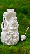 """Antique Chinese Carved White Coral Snuff Bottle 3 5/8"""" Tall 108.9 g Ring Handles"""