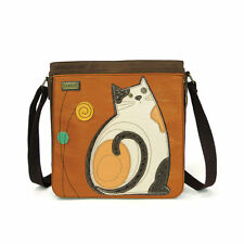 CHALA MESSENGER BAG - CAT, RUST FAUX LEATHER, New!