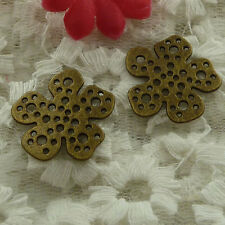 free ship 150 pieces bronze plated flower charms 23mm #2908