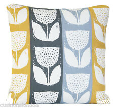 Tulips And Stripes Cushion Cover Yellow Beige Grey Pillow Case Modern Floral