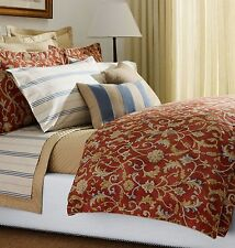 NEW RALPH LAUREN ISLA MENORCA Scroll Red QUEEN DUVET Comforter COVER Shams SET