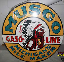 """Awesome Giant MUSGO Gasoline Sign-Heavy Steel Sign-30"""" in Dia. Porcelain Look"""