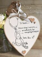 PERSONALISED HANDMADE PLAQUE HEART WINNIE THE POOH QUOTE FRIEND// ENGAGEMENT
