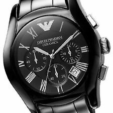 IMPORTED EMPORIO ARMANI AR1400 CERAMIC BLLACK MENS WATCH CHRONOGRAPH 2YR WARNTY