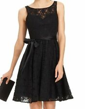 Marina Dress Sz 12 Black Lace w/Sash Padded Cup A-Line Cocktail Tea Dress