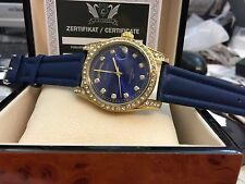 LEONARDO A.D.H. CAVADINI CASE SOLID STAINLESS STEEL GOLD PLATED AZURE BLUE TAG/