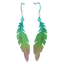 Green Feather Titanium Drop Earrings