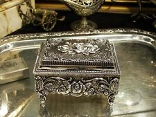 Silver Plated Roses Jewellery Box With Music Box For Necklaces Vintage Antique