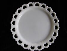 Anchor Hocking Old Colonial Lace Edge Milk Glass~Cake Plate 13""