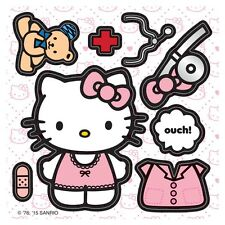 """20 Make-Your-Own Hello Kitty Doctor Stickers, 2.5""""x2.5"""" each, Party Favors"""