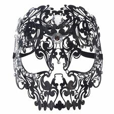 Coofit Men Devil Skull Laser Cut Venetian Masquerade Mask with Rhinestones Black
