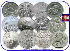 12 Labors of Hercules -- Nemean Lion to Cerberus, full set, ALL 12 silver coins