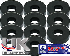 Rubber Washers M6 6mm x 4mm x 20mm - Black - Pack of 10 - Kart, Motorcycle