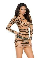 Sheer Zebra Animal Print Mini Dress Long Sleeve Deep V 1507