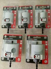 Brand New lot of 5 Porter-Cable Hole Saw 2 ½ 2 1 ¾ 1 ½ 1 Deep Cut Saws