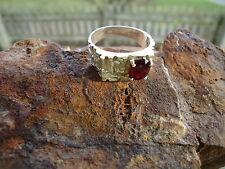 Mid Century Modern ENIKO Mens Abstract Garnet Ring Modernist Sterling Size 8 1/2