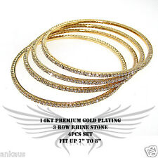 4pcs Beautiful Rhinestone Accented Yellow Gold Plated Bangle Bracelet FLBNG15506