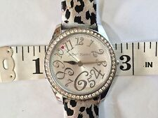 Betsey Johnson Silver Rhinestone Metallic Leopard Stainless Watch Heart