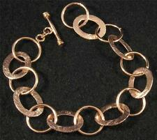 Large Brushed Textured Solid Copper Oval Shiny Round Link Chain Bracelet 7 3/4""